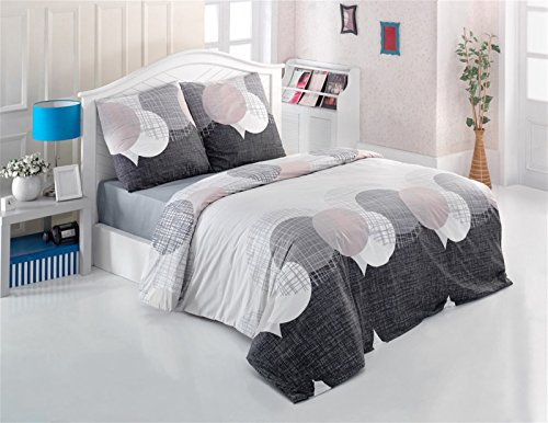Fein-Biber Bettwäsche mit Kissenbezug 2 Teilig 100% Baumwolle Edel-Flanell Reißverschluss 135x200 cm + 80x80 cm, Punkte Kreise Streifen Grau Anthrazit