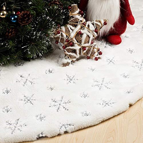Rorchio Baumdecke Weihnachten ,120 cm Weihnachtsbaum Röcke Weißer Schnee plüsch Weihnachtsbaum Teppich Decke Dekoration für Frohe Weihnachten Party Weihnachtsbaum Rock Dekorationen