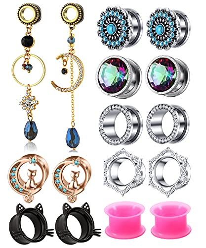 16pcs Crystal Dangle Plugs Ear Tunnels Gauges Pendant Moon Star Stainless Steel Screw Silicone Rhinestone Body Piercings Stretcher Set