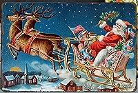 メリークリスマス。サンタがプレゼントを贈るヴィンテージスタイルメタルサインアイアン絵画屋内 & 屋外ホームバーコーヒーキッチン壁の装飾 8 × 12 インチ