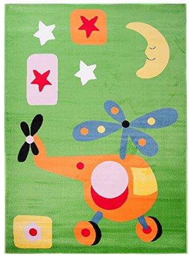 Petit Tapis - Vert - S - 80 x 150 cm - Dessin Enfantin pour Filles et Garçons - pour la Chambre d'Enfant - Hélicoptère - « ENFANT » la Collection Carpeto