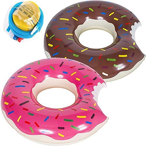 Aufblasbarer Donut Gummi Schwimmring,Floating-Ring Donut Aufblasbar Ring Luftmatratze Reifen Schwimmreifen für Kinder, Aufblasbarer Luftmatratzen für Party,Pool,Strand Mit Luftpumpe-2 Stück