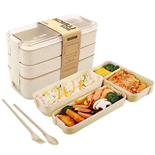 Lady of Luck Lunchbox Brotdose Bento Box Vesperdose 3 Schichten 900 ml Kinder Lunchbox, Mikrowelle Heizung Für Kinder Und Erwachsene (Beige)