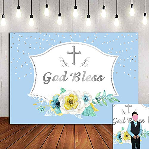 First Holy Communion Photography Backdrop 7x5ft Blue Baby Boys Floral Photo Background God Bless Photo Booths Studio Props Baptism Christening Party Vinyl Banner Decorations