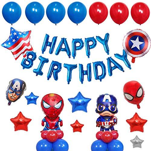 YUIP Super Hero Birthday Party Decorations Set Superhero Avengers Party Supplies Superhero Balloons For Boys Theme Party Favor, Blue