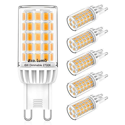 G9 LED Dimmbar Lampen 6W, Warmweiß 2700K Glühbirnen Ersatz für 50W 60W Halogenlampen, Standard G9 Sockel Birne Kein Flackern, AC220-240V, 360° Abstrahlwinkel, LED G9 Leuchtmittel, 5er Pack, Eco.Luma