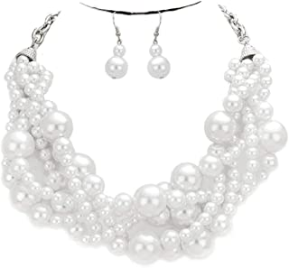 Crystal Luxury Multi Layer String Twist Collar Pearl Chunky Choker Necklace Gift