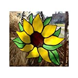 Sunflower Stained Glass Window Hangings - Stained Glass Hanging Panel