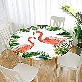 Fansu Impermeable Redondo Mantel con Borde Elástico, 3D Impresión Flamenco Mantel de Mesa Ajustada Cubierta de Mesa para Picnic Comedor Cocina Restaurante Cena (Tropical,Diámetro 120cm)