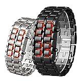 Reloj de Pulsera Digital de Acero Inoxidable con LED de Lava para...