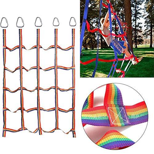 Kinder Kletternetz Regenbogen-Gurtnetz Körperliches Training Kletternetz Für Outdoor-Hinterhofspielsets Und Spielgeräte Ninja Style Hindernisparcours