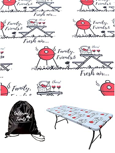 Fitted Rectangle Tablecloth Cover for 6 Foot Folding Table-Size 30x72 inch.Vinyl Tablecloth,Elastic Secure fit!Waterproof, Plastic&Flannel Lined!Fitted Stay-Put! for Camping & Outdoor &Easy to Clean!