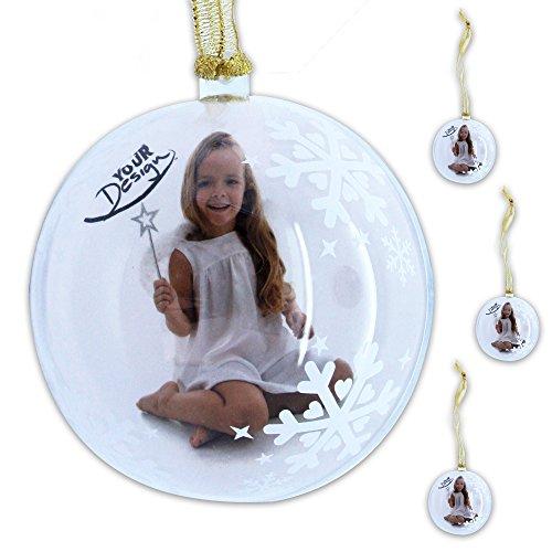 WOP ART 4er Set Christbaumkugel, Fotokugel Snowflake schmücken Sie die Kugel mit ihrem Lieblingsfoto