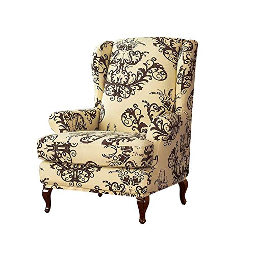 KASHINO Fundas elásticas para sillones con respaldo alado, de poliéster, con diseño de hojas, estampado de flores, funda de 3 sillas