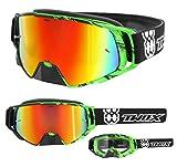 TWO-X Rocket Crossbrille Crush schwarz grün Glas verspiegelt Iridium MX Brille Nasenschutz Motocross Enduro Spiegelglas Motorradbrille Anti Scratch MX Schutzbrille