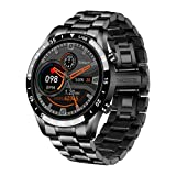 2021 Luxury Brand Mens Smart Watch Steel Band Fitness Watch Heart Rate Blood Pressure Activity Tracker Smart Watch for Men ( Color : Steel Strap Black )