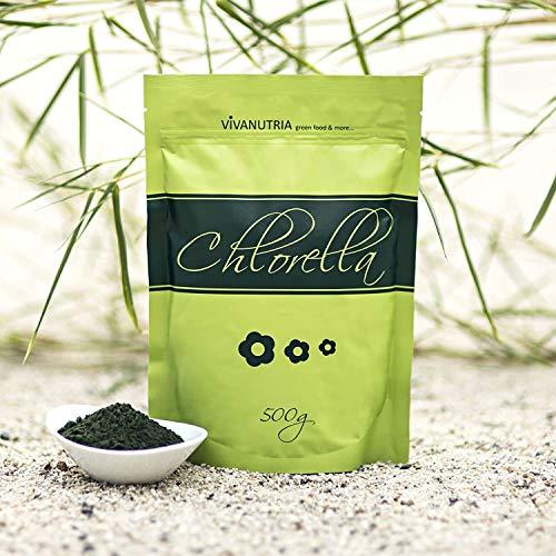 VivaNutria, 1000g Chlorella Pulver, Chlorella-Pulver, Chlorellapulver ohne Zusätze, 100% rein und natürlich, aus kontrolliertem Anbau, laborgeprüft, schonende Verarbeitung