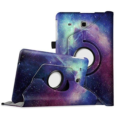 Fintie Hülle für Samsung Galaxy Tab E T560N / T561N 24,3 cm (9,6 Zoll) Tablet-PC - 360° Drehbarer Stand Cover Premium Kunstleder Schutzhülle Tasche Etui mit Ständerfunktion, Die Galaxie