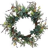 Corona decorativa para puerta de Navidad, de eucalipto, de algodón, vintage, para todo el año, decoración para bodas, Navidad