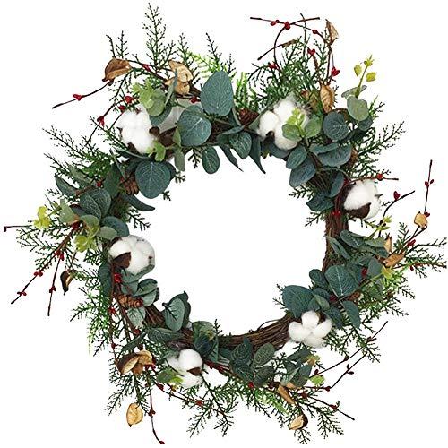 cuffslee Eukalyptuskranz, Kranz Weihnachten Türkranz Wandkranz Haustür Fensterkranz Weihnachtsgirlande Halloween Thanksgiving Dekor, Durchmesser 50cm