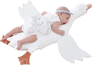 White Goose Plushies Toy Pillow, Stuffed Animal Baby Soothing Pillow for Nursery/Kids, Baby Gifts for Boys,Girls, Children (Brown+Peas)