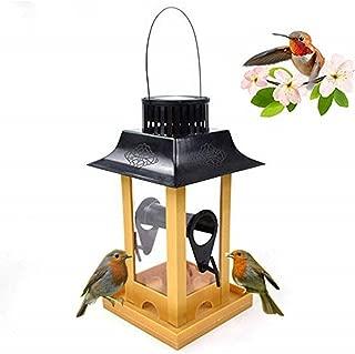 Umiwe Solar Light Bird Feeder, Solar Energy LED Light Squirrel Proof Wild Bird Feeders with Hanging, Lantern Shape Large Container Seed Feeder for Garden Decoration