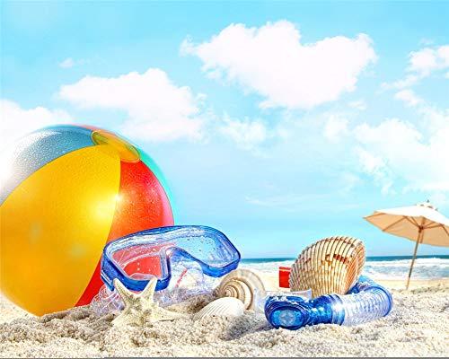 Kreuzstich Diamant Gemälde Kinder 5D Schwimmbrille Und Beachvolleyball Am Strand Landschaft Quadratischer Diamant 25X30 cm Bilder Arts Craft Geschenk Für Home Wall Decor Enthalten