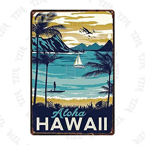 PDHJHT Blechschild Surf Hawall Vintage Reise Hula Beach Metallplatte für Wand Pub Cafe Home Art Craft Dekor 20x30cm DU-5431