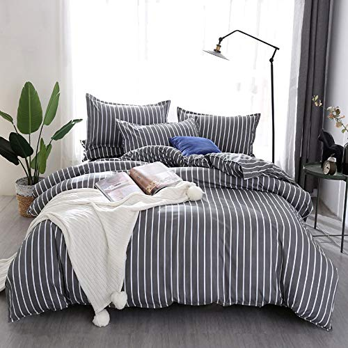 zzkds Pinstriped duvet cover with two matching pillowcases, 3 striped bedroom bedding, couple double bed set night AU-Single