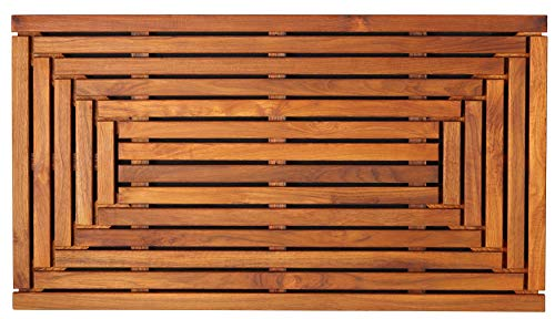 Bare Decor Giza Shower, Spa, Door Mat in Solid Teak Wood and Oiled Finish 35.5' x 19.75'