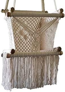 Baby Hanging Chair Handmade Macrame Cotton Beige/Indoor Outdoor Baby Chair Swing/Hanging Chair Swing