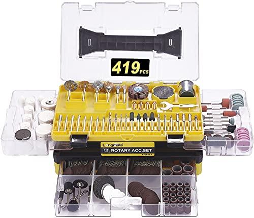 Accessori per Utensili Rotanti, Longmate 419 Pezzi Set di Accessori Multiuso, Smerigliatrice con Gambo da 3,2 mm Montaggio Universale per Taglio, Incisione, Levigatura, Lucidatura e Perforazione