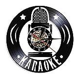 Karaoke, Banda De Música, Moderno, Reloj De Pared con Disco De Vinilo, Micrófono, Instrumento Musical, Fiesta, Relojes Decorativos, 30 Cm (Sin Led)