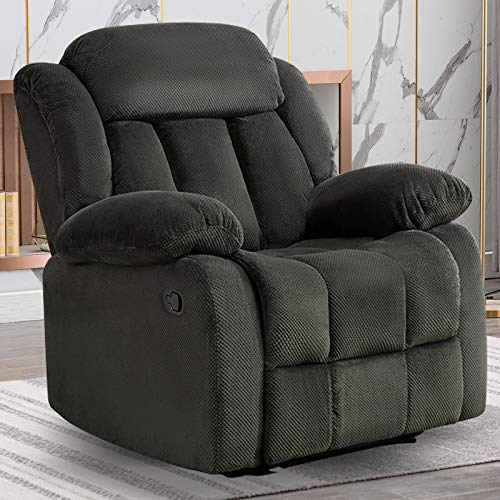ANJHOME Fabric Recliner Chair for Living Room,Overstuffed Single Sofa Home Theater Seating Lounge Chair (Forest Green)