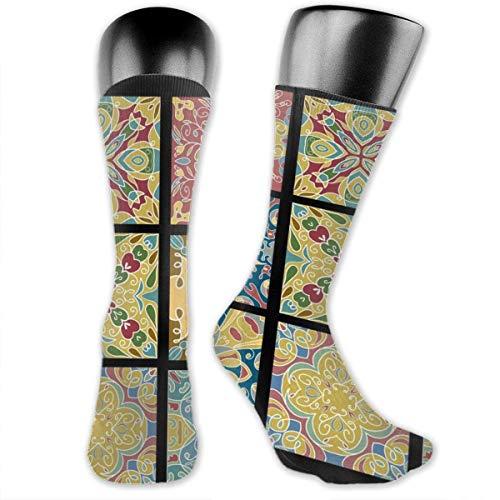 Jesse Tobias Keramikfliesen für marokkanische Vintage Wein angepasst Socken, mittlere Strümpfe zum Laufen, sportlich, Reisen, tägliche Abnutzung