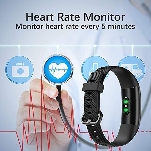 【Neuestes Modell】 Fitness Armband, KUNGIX Schrittzähler Uhr IP68 Wasserdicht Smartwatch Fitness Tracker mit Pulsmesser Smart Watch für Damen Herren Kinder iOS Android Kompatibel - 5