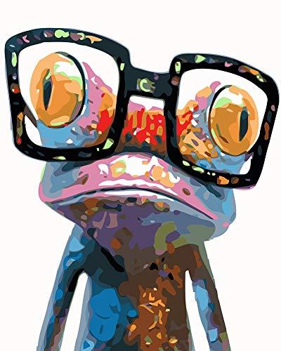 WONZOM DIY Malen nach Zahlen für Erwachsene Kinder Anfänger, Malen nach Zahlen Kits auf Leinwand, Bunter Frosch mit Gläsern 16x20 Zoll Ohne Rahmen