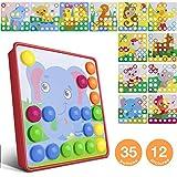 Mosaik Spielzeug, Jooheli Mosaik Steckspiel ab 3 Jahren Kinder, Steckspielzeug Pilz Nagel Puzzle Pegboard mit 35 Steckknöpfe und 12 Bunten Steckplätte Lernen...