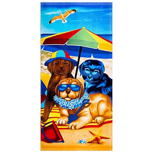 JYK Strandtuch Strandkorb Handtuch 71,1 x 147,3 cm Baumwolle Handtuch für Strandkörbe Pool Bad Spa Fitness Kinder Strandtuch Mädchen Strandtuch Jungen Strandtuch Baby Strandtuch (Cartoon-Hunde)