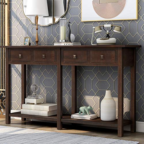 Merax Narrow Console Sofa Table Sideboard with Drawers and Long Shelf for Living Room, Entryway/Hallway, Espresso