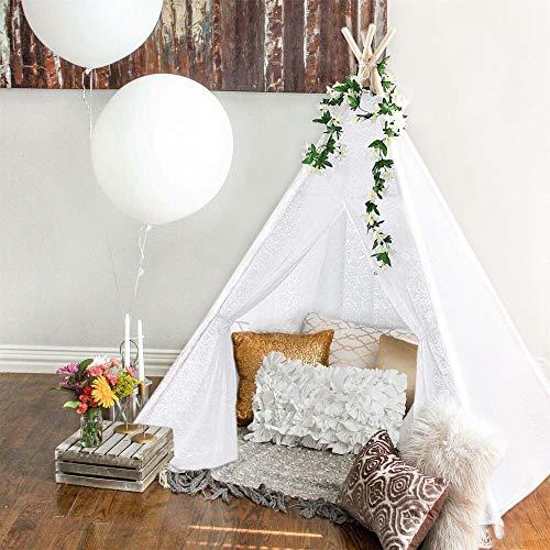 Triclicks Tipi Zelt Für Kinder, Tipi Spielzelt für Kinder, Indianerzelt Kinderzelt Wigwam Spielhaus Für Drinnen & Draußen, 100% Baumwolle Segeltuch (Weißer Spitze)