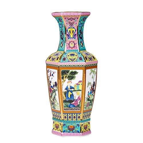 MAYIAHO Jarrones de cerámica para decoración del hogar, jarrones grandes altos el suelo pie sala de estar, verde hecho a mano, moderno, porcelana larga, muy antigua, accesorios chinos orientales.