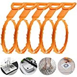 Drain Clog Cleaner, 5 PACKS Hair Clog Remover Cleaning Tool 25 Inch Drain Relief Auger Cleaner Snake Hair Catcher for Sink Kitchen Bathroom Tube Toilet Clogged Drains Dredge Pipe Sewers