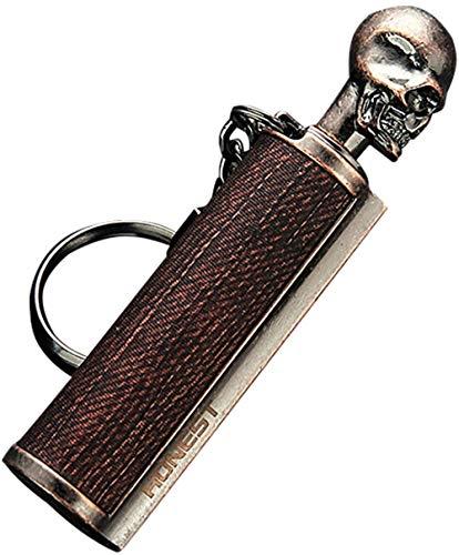 klt Portachiavi in metallo permanente con pietra focaia, riutilizzabile, per avviatore di fuoco, ricaricabile, accendino di emergenza, impermeabile, kit B