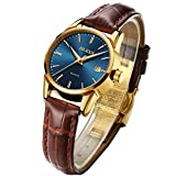 OLEVS Women's Watches for Ladies Female College Students Blue Dial Brown Leather Big Face Dress Analog Quartz Wrist Watch with Calendar Day Date Waterproof Luminous Gift Classic Casual Retro Tan