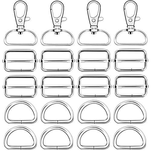 50 Stück silberne Metall-Drehgelenk-Schlüsselanhänger Haken D-Ringe und Schiebeschnallen für Handtasche, Geldbörse, Hardware, Schlüsselband, Geldbörse, Taschen, Gurte, Hundehalsbänder und Nähprojekte