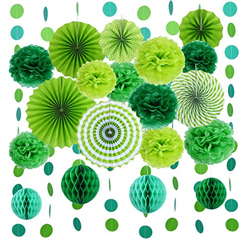 VEYLIN Hanging Paper Fans Assorted Green Tissue Paper Pompoms Flowers Honeycomb Balls Round Garland for Birthday Wedding Festival Party Decorations (20 Pieces)