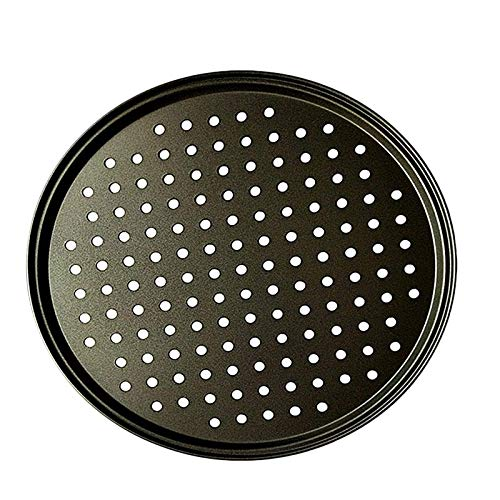 10 Inch Personal Perforated Pizza Pans black Carbon Steel with Nonstick Coating Easy to Clean Pizza Baking Tray