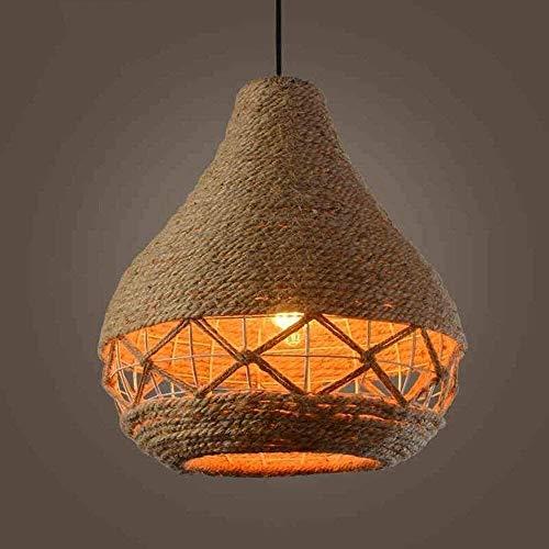 Lámpara de araña de bola de cuerda de cáñamo con un solo faro Lámpara de techo creativa retro nórdica Lámpara colgante para tienda de ropa Proyecto de cafetería E27 Luz colgante de estilo rural retro