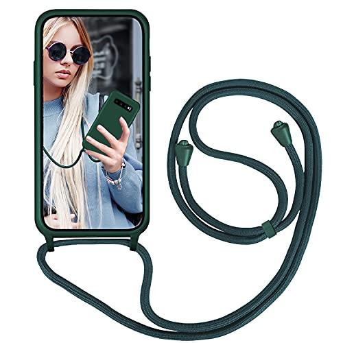 GoodcAcy Funda con Cuerda para Samsung Galaxy S10 Plus,Carcasa Silicona Líquida Correa Colgante Ajustable Collar Correa de Cuello Cadena Cordón Case para Galaxy S10 Plus, Verde